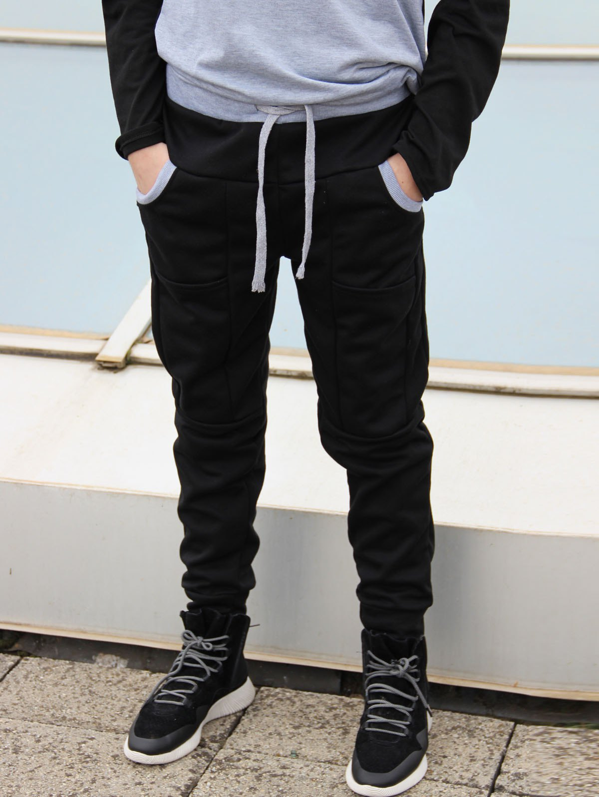 Trendy Lace-Up Slimming Color Block Splicing Beam Feet Polyester Sweatpants For Men - M BLACK