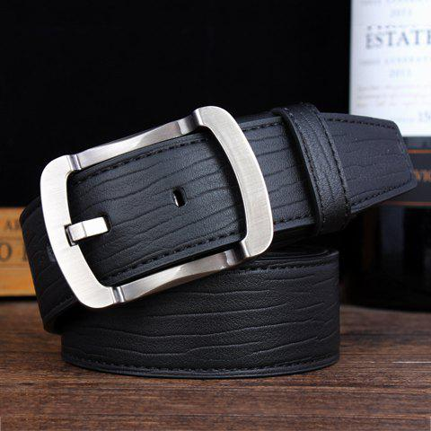 Stylish Alloy Pin Buckle Solid Color Men's Wide Belt - BLACK