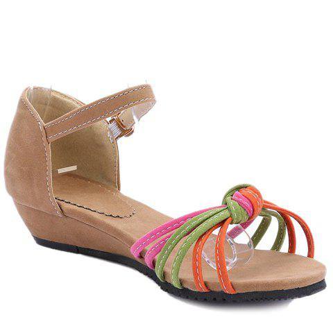 Concise Flock and Multicolor Design Women's Sandals