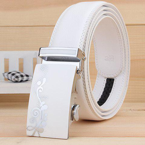 Stylish Tendrils Polka Dot Alloy Rectangle Buckle Men's White Wide Belt - WHITE