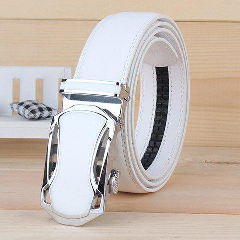 Style forme de voiture évider alliage Buckle Men 's Wide White Belt - Blanc