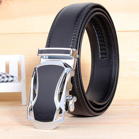 Stylish Hollow Out Car Shape Alloy Buckle Men's White Wide Belt - BLACK