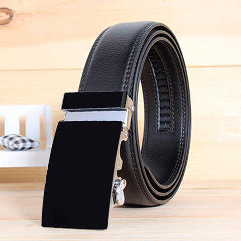Stylish Smooth Alloy Rectangle Buckle Men's Wide Belt - BLACK