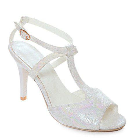 Trendy Peep Toe and T-Strap Design Women's Sandals - WHITE 39