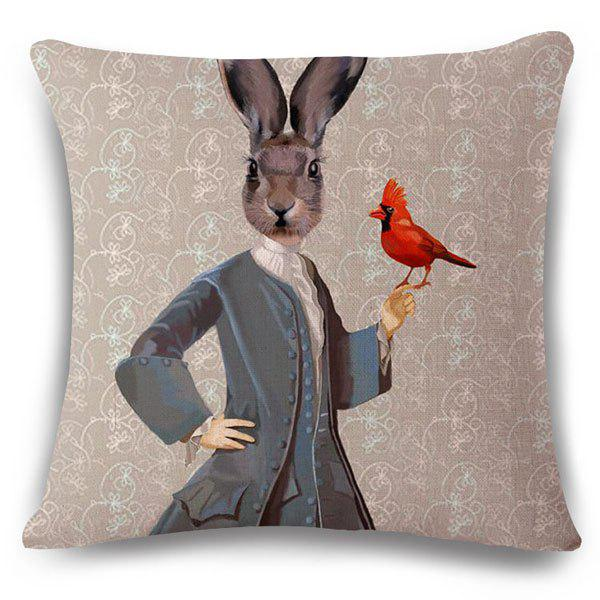 Fashionable Mrs. Rabbit Pattern Square Shape Flax Pillowcase (Without Pillow Inner) - COLORMIX