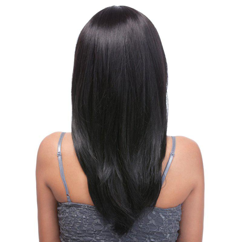 Charming Straight Black Capless Long Layered Full Bang Synthetic Wig For Women - BLACK