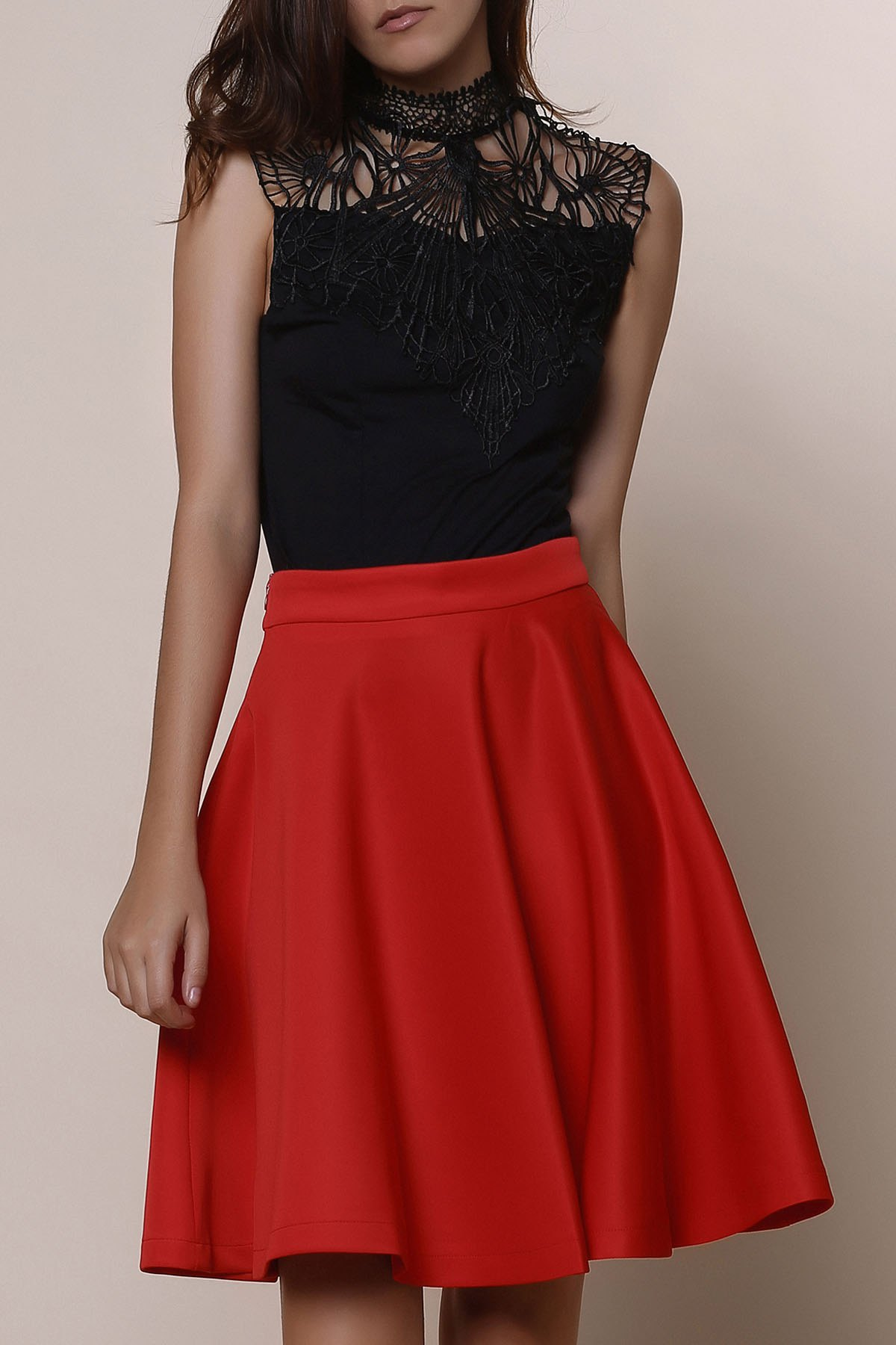 Stylish Women's Solid Color Flare Skirt - RED S