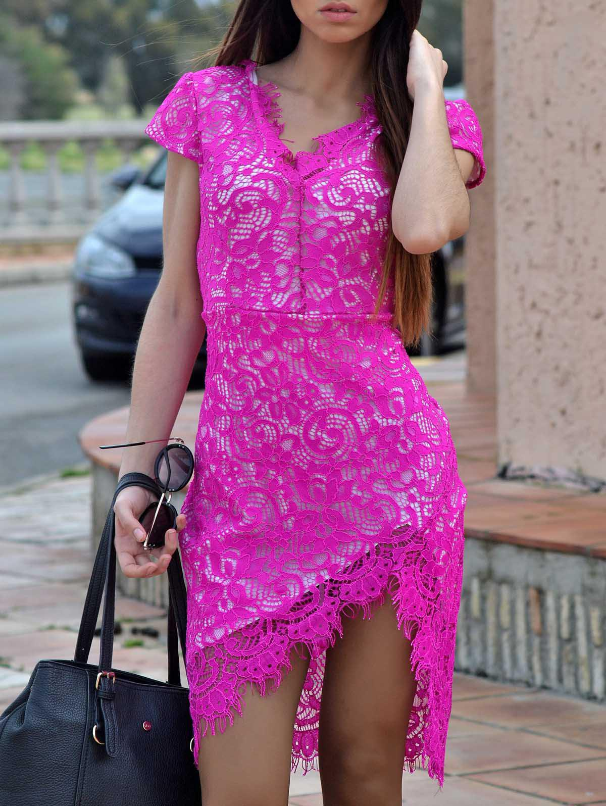 Sexy Lace Embroidered  V-Neck Bodycon Dress - ROSE S
