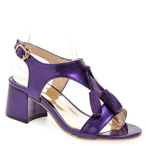Fashionable Solid Color and Tassels Design Women's Sandals - DEEP PURPLE 38