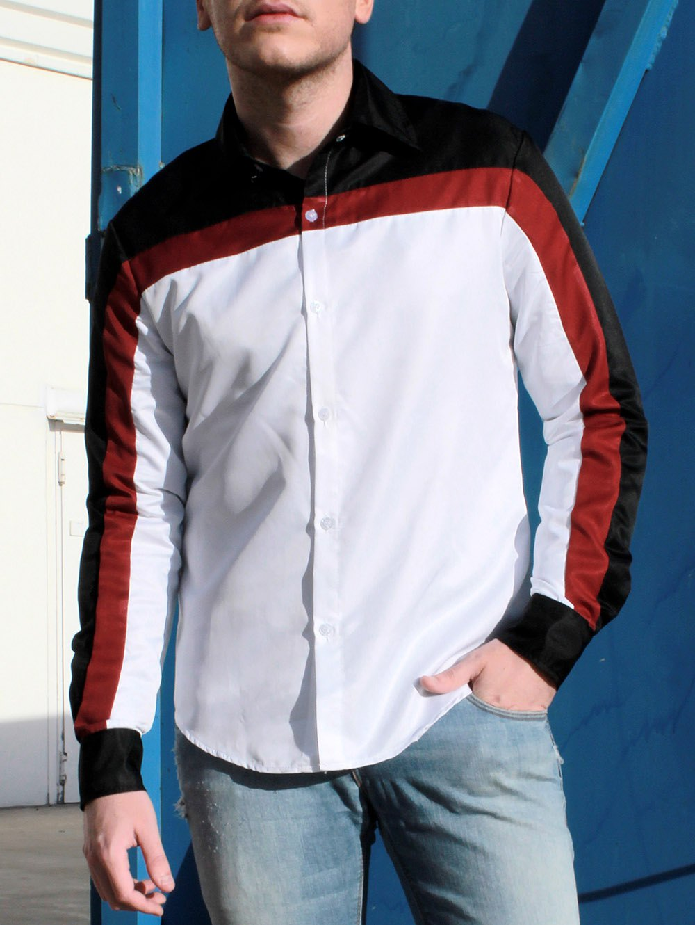 Trendy Three Color Splicing Shirt Collar Long Sleeve Fitted Men's Polyester Shirt - COLORMIX M