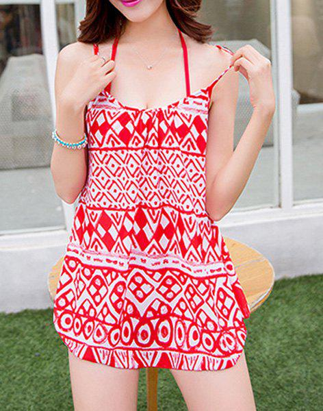 Refreshing Halter Ruffled Splice Printed Women's Swimsuit - RED M