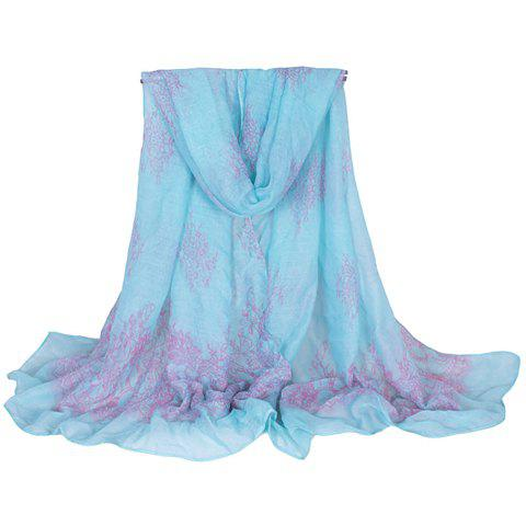 Chic Plant Pattern Women's Voile Scarf - LAKE BLUE