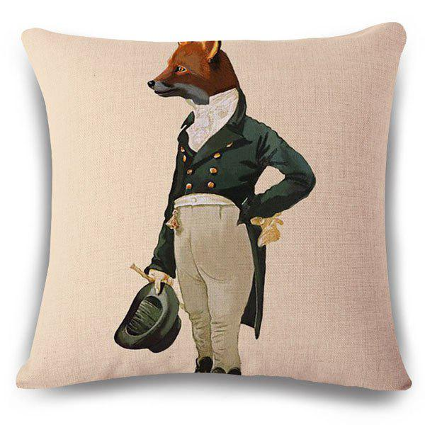Stylish Mr. Fox Pattern Square Shape Pillowcase (Without Pillow Inner) - COLORMIX