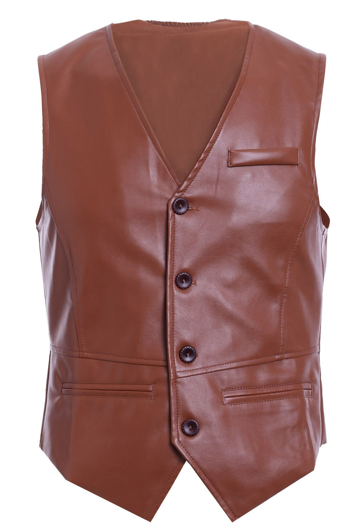 Solid Color Single-Breasted V-Neck Men's PU Leather Waistcoat - BROWN XL