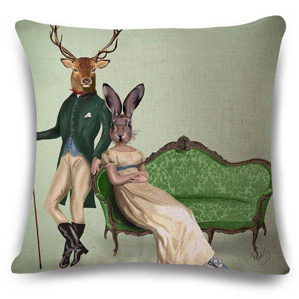 Fashionable Mr. Deer and Miss Rabbit Pattern Square Shape Flax Pillowcase (Without Pillow Inner) - COLORMIX