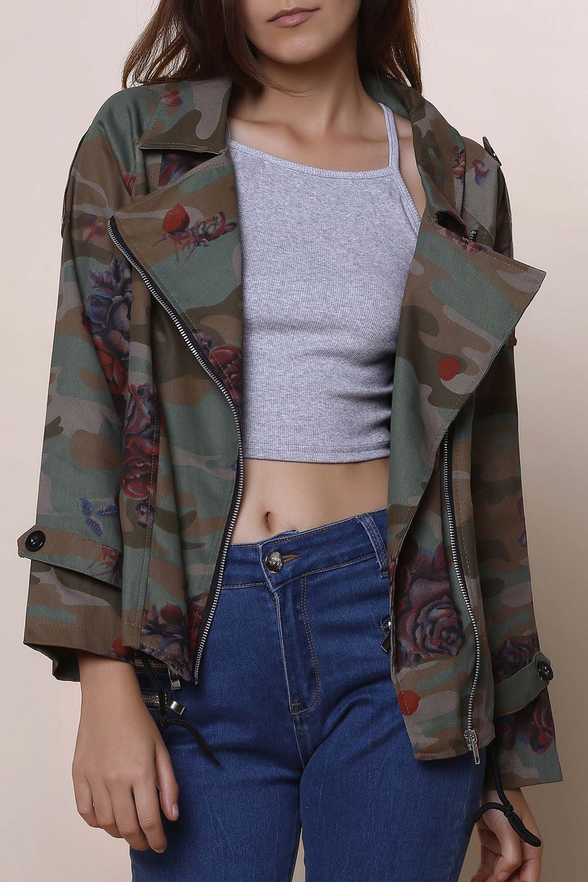 Stylish Turn-Down Collar Long Sleeve Floral Camouflage Pattern Women's Jacket - ARMY GREEN S