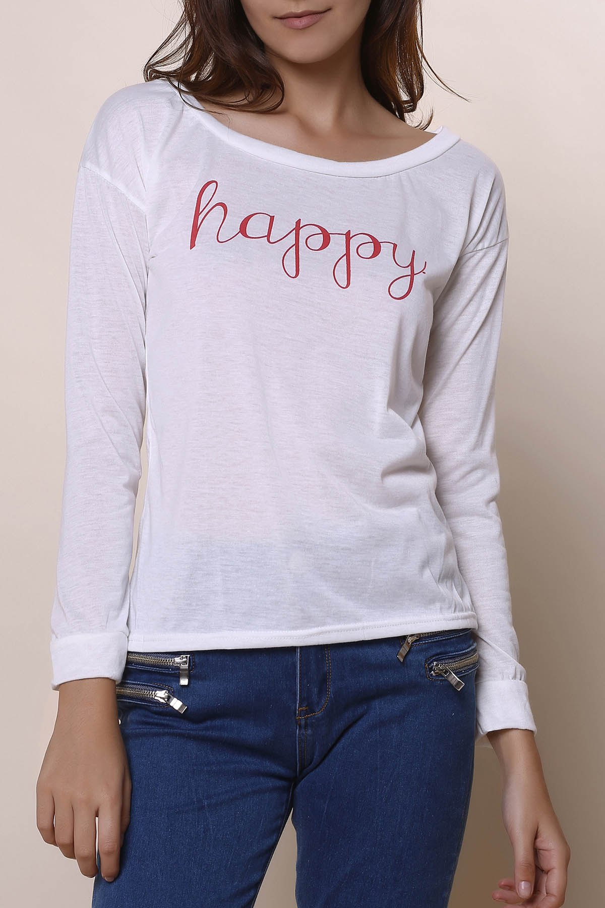 Stylish long sleeve scoop neck letter print t shirt tank for Scoop neck long sleeve shirt