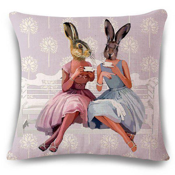 Fashionable Rabbit Girls Pattern Square Shape Flax Pillowcase (Without Pillow Inner)