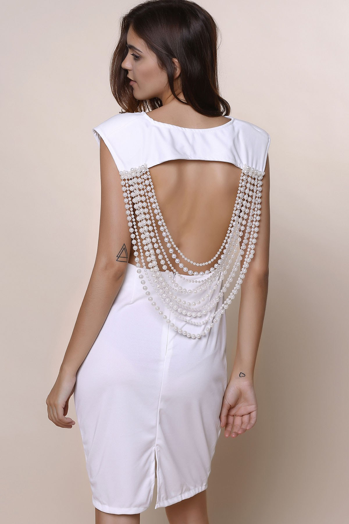 Sexy Round Neck Sleeveless Open Back Solid Color Women's Dress - WHITE XL
