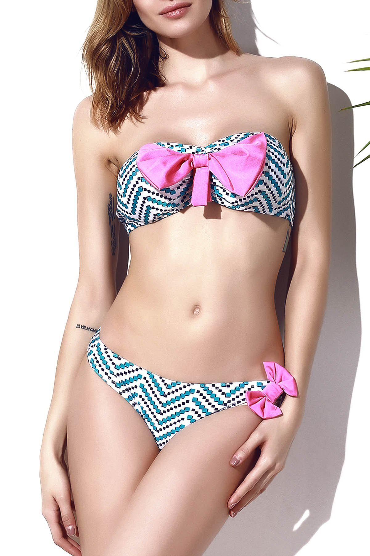 Stylish Chevron Printed Bowknot Bikini Set For Women - multicolorCOLOR XL