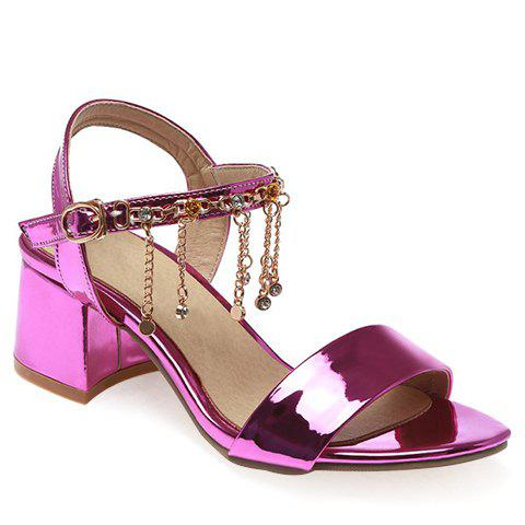Stylish Chunky Heel and Chains Design Women's Sandals - PURPLE 39
