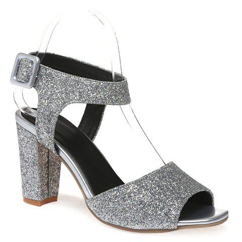 Trendy Sequined Cloth and Peep Toe Design Women's Sandals - SILVER 35