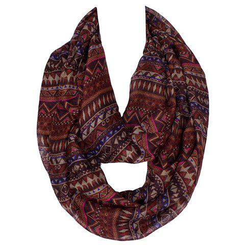Chic Bohemian Geometric Pattern Women's Voile Scarf - DEEP BROWN