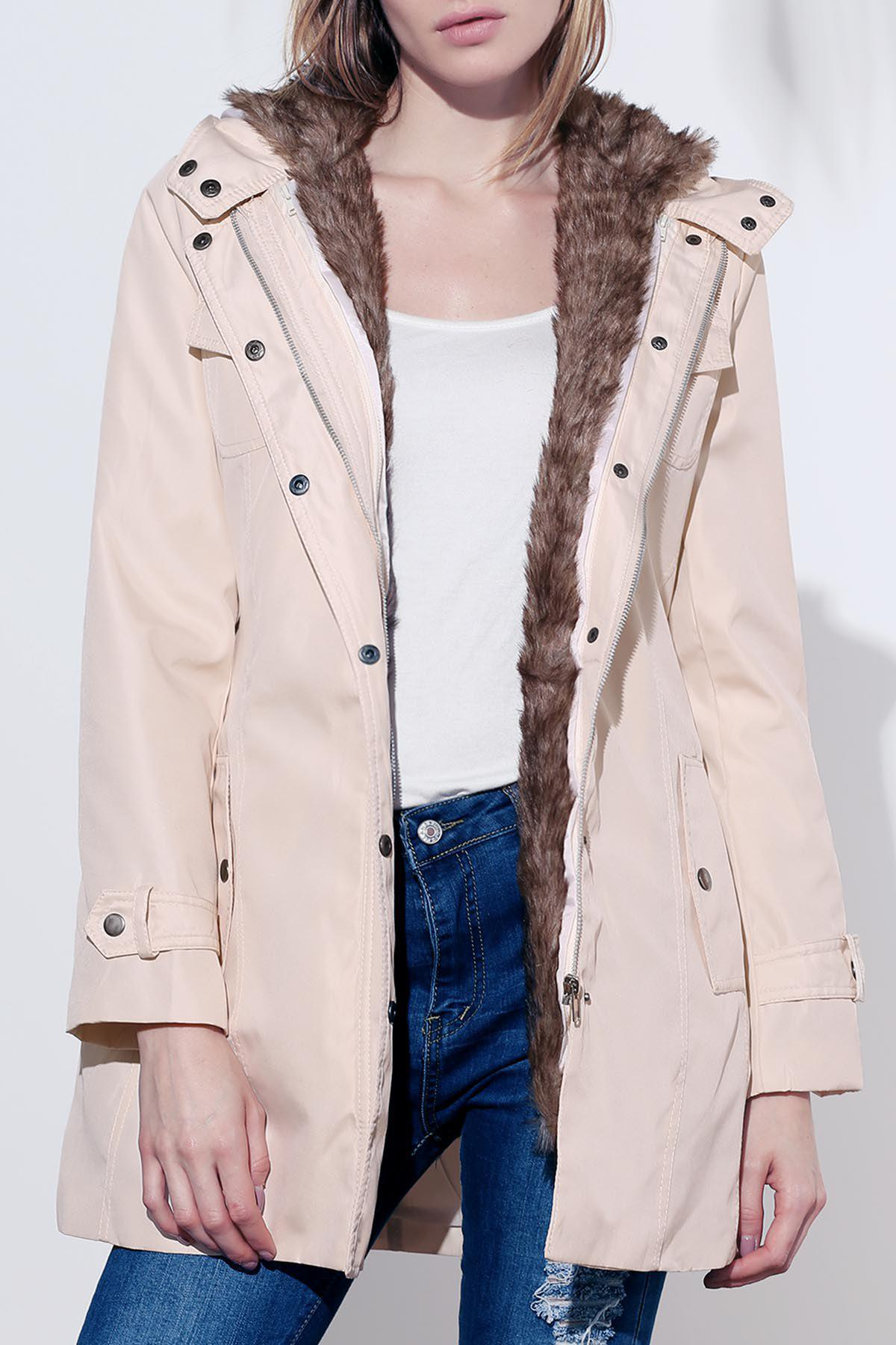 Womens Cotton Solid Color Thickened Faux Fur Lined Waistband Beam Waist Pockets Korean Style Stylish CoatWomen<br><br><br>Size: L<br>Color: BEIGE