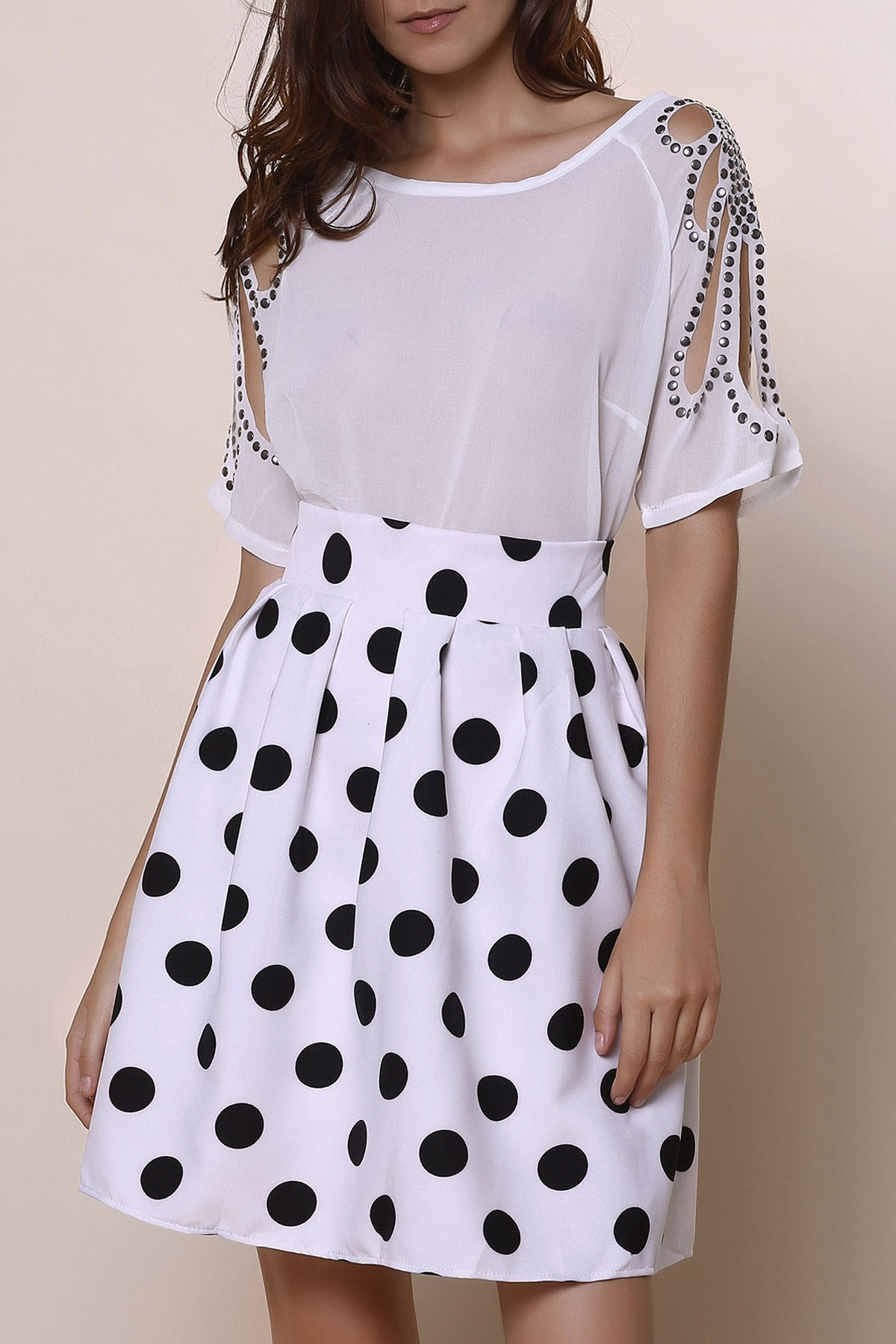 Vintage High-Waisted Ruffled Polka Dot Women's Skirt - WHITE/BLACK L