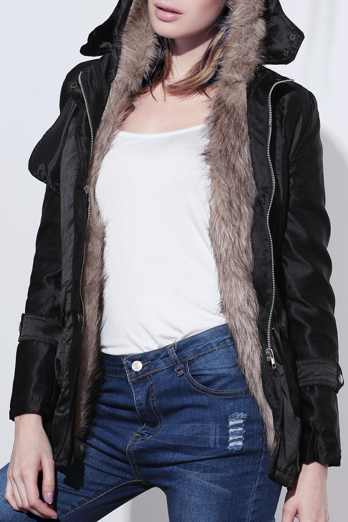 Women's Cotton Solid Color Thickened Faux Fur Lined Waistband Beam Waist Pockets Korean Style Stylish Coat - BLACK L