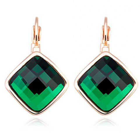 Pair of Faux Gem Geometric Earrings - GREEN