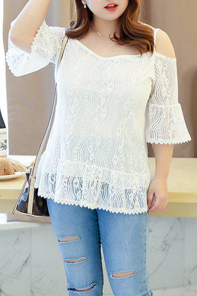 Trendy Plus Size V-Neck Spaghetti Strap Hollow Out Blouse For Women цена 2017