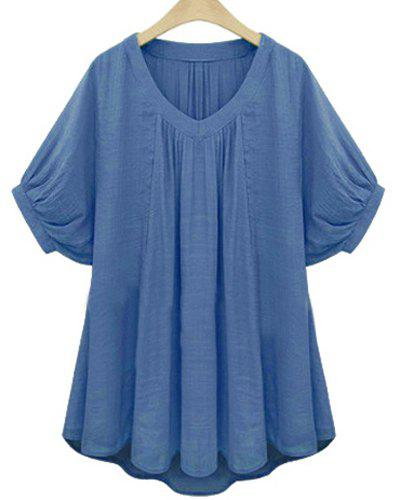 Sweet Solid Color V-Neck Batwing Sleeve Pleated Blouse For Women - BLUE 2XL