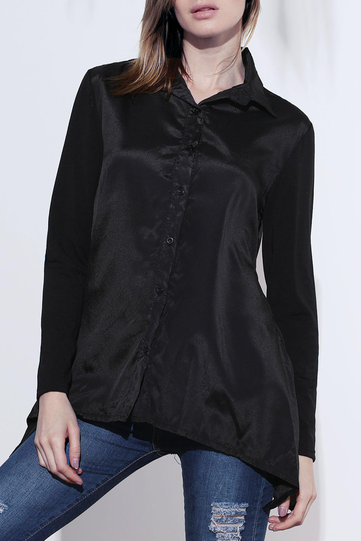 Irregular Hem Long Sleeve Turn Down Collar Loose-Fitting Blouse - BLACK ONE SIZE