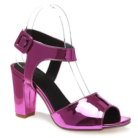 Fashionable Patent Leather and Solid Colour Design Women's Sandals - PURPLE 39