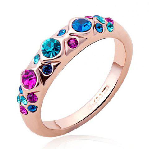 Colored Faux Crystal Ring - COLORMIX ONE-SIZE