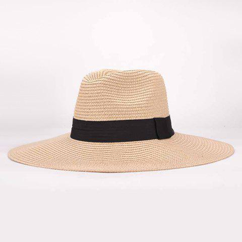 Chic Sweatband Design Sun Block Beach Straw Hat For Women - BEIGE