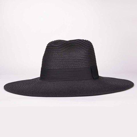 Chic Sweatband Design Sun Block Beach Straw Hat For Women - BLACK