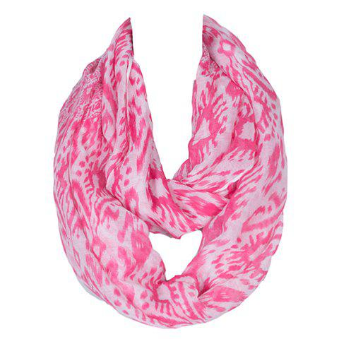 Chic Tribal Style Geometric Scrawl Pattern Women's Voile Scarf - ROSE