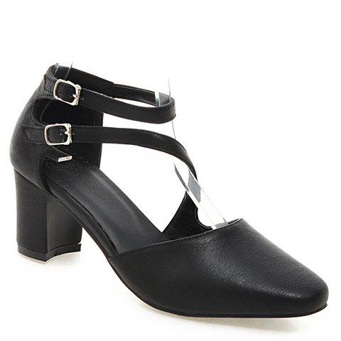 Ladylike Double Buckle and Square Toe Design Women's Pumps - BLACK 39