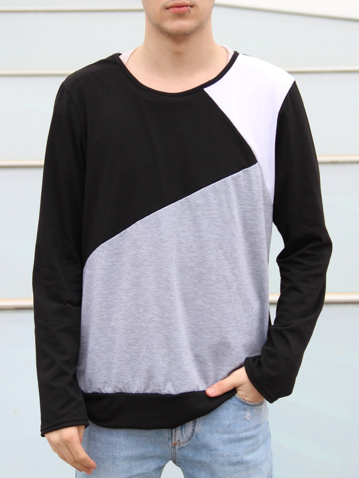 Round Neck Long Sleeves Multicolor Panel T-Shirt - BLACK M