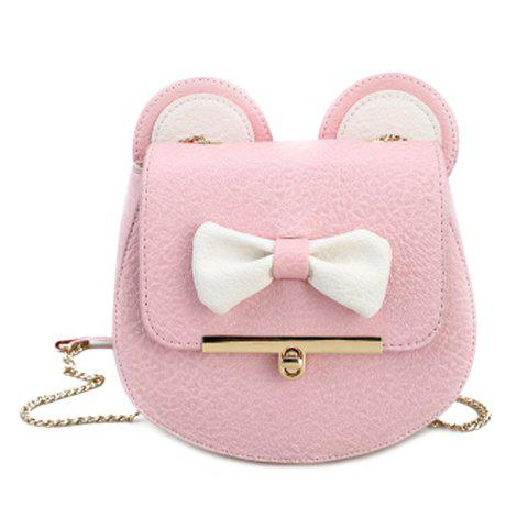 Cute Color Block and Bow Design Women's Crossbody Bag - SHALLOW PINK