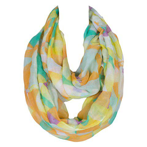 Chic Multicolor Geometric Scrawl Pattern Women's Voile Scarf - YELLOW