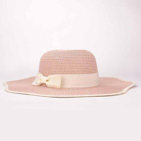Chic Bow Decorated Wave Edge Beach Straw Hat For Women - PINK