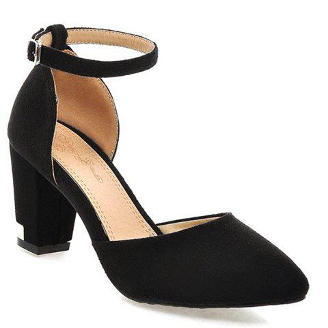Fashionable Chunky Heel and Two-Piece Design Women's Pumps - BLACK 34