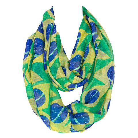 Chic Brazil Flag Pattern Women's Voile Bib Scarf - GREEN