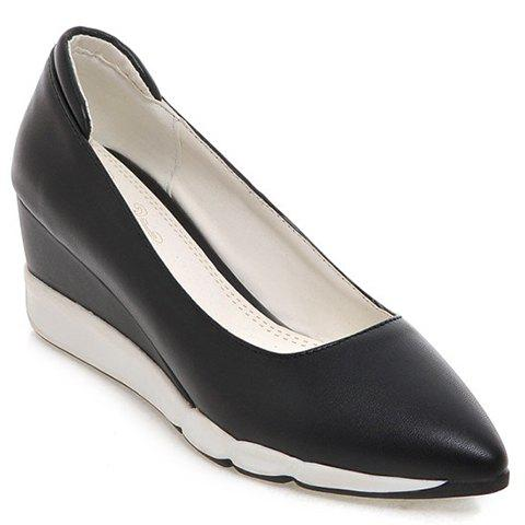 Casual PU Leather and Pointed Toe Design Women's Wedge Shoes - BLACK 36
