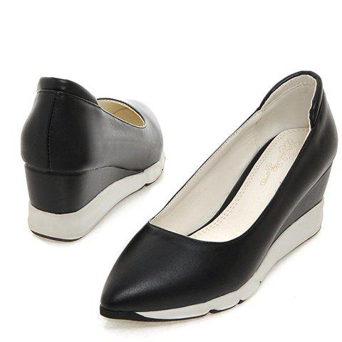 Casual PU Leather and Pointed Toe Design Women's Wedge Shoes - BLACK 37