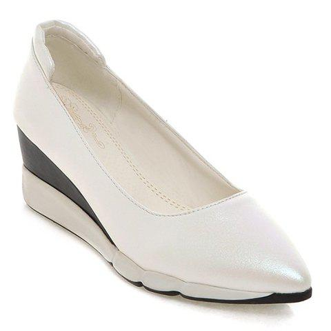 Casual PU Leather and Pointed Toe Design Women's Wedge Shoes - 39 WHITE