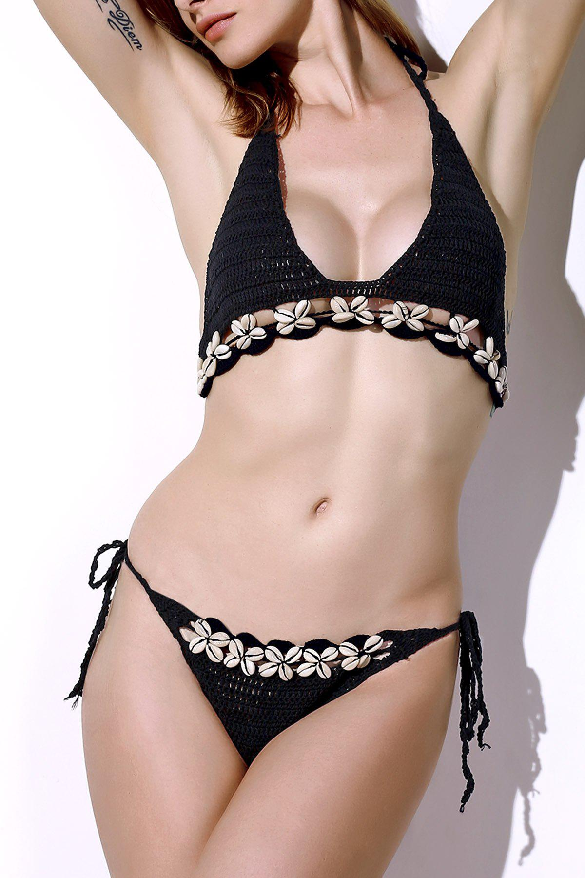 Stylish Halter Pure Color Crochet Shell Inlaid Bikini Set For Women - BLACK ONE SIZE(FIT SIZE XS TO M)
